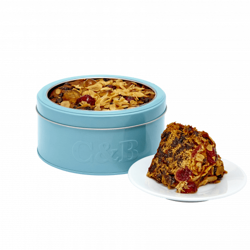 Cherry & Almond Decorated Fruit Cake in Tin