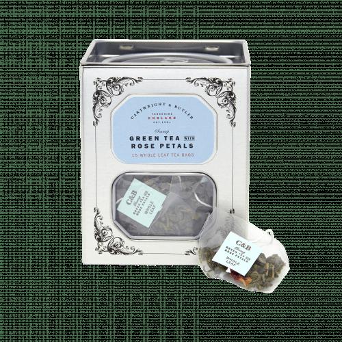 Green Tea With Rose Petals Whole Leaf Tea Bags Caddy
