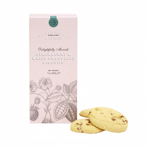 Strawberry & White Choc Biscuits in Carton