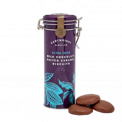 Ultra Thick Milk Chocolate Salted Caramel Biscuits in Tin