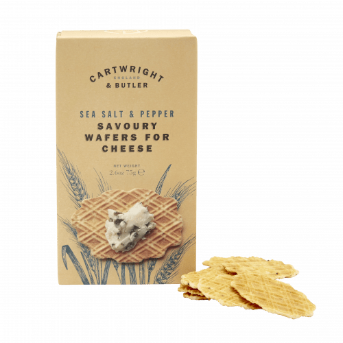 Sea salt and pepper wafers for cheese