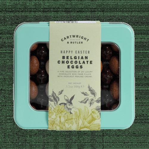 Luxury Belgian Chocolate Eggs in window tin