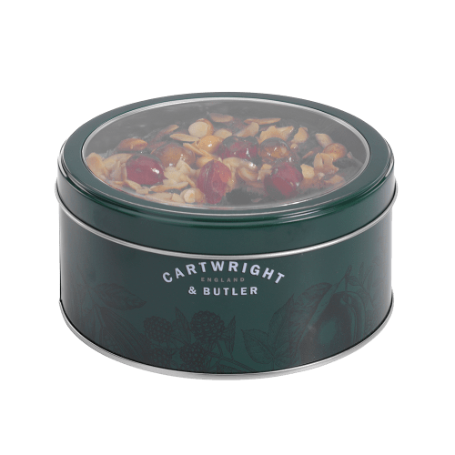 Cherry & Almond Decorated Round Fruit Cake in Tin