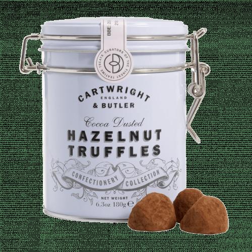 Hazelnut truffles in tin