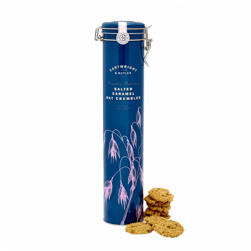Salted Caramel Oat Crumbles in Tall Tin
