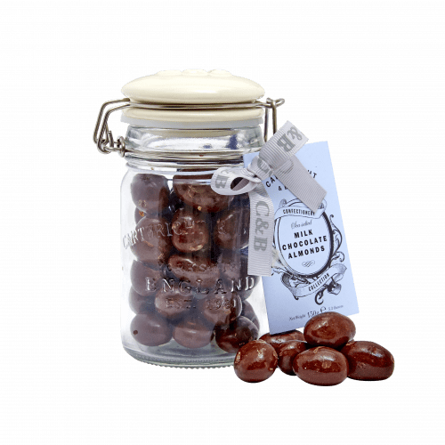 Milk Chocolate Almonds in Jar